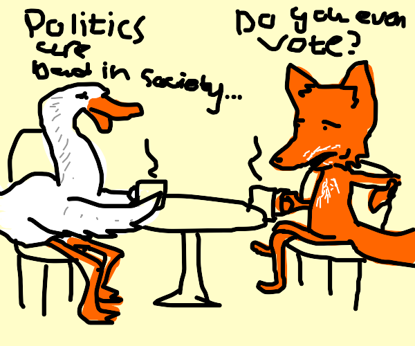 Fox and duck have a mature argument