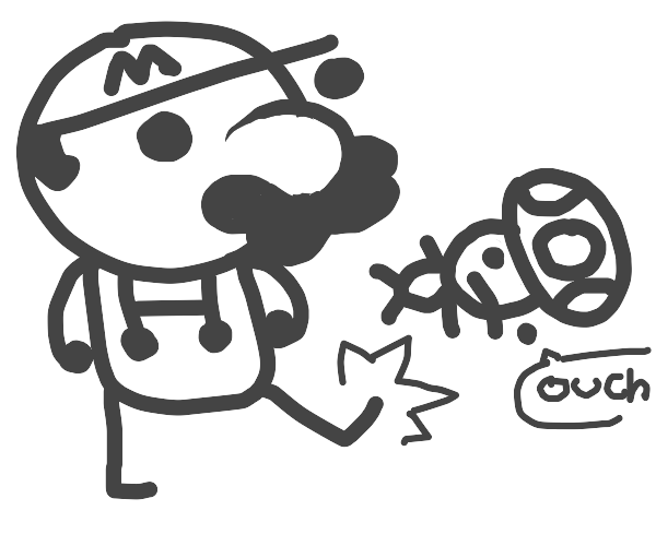 Mario kicks weak Toad