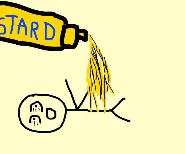 Floating mustard gets squirted onto a man