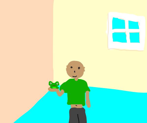 boy has a frog