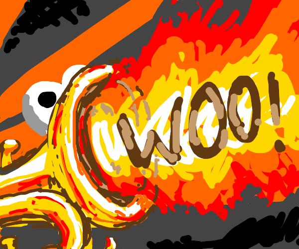 Flaming trumpet screams in victory