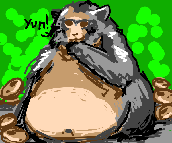 Monkey can't stop eating cookie. So full!!