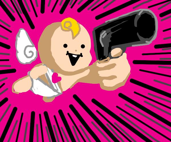 Fabulous cupid baby has a gun!!!