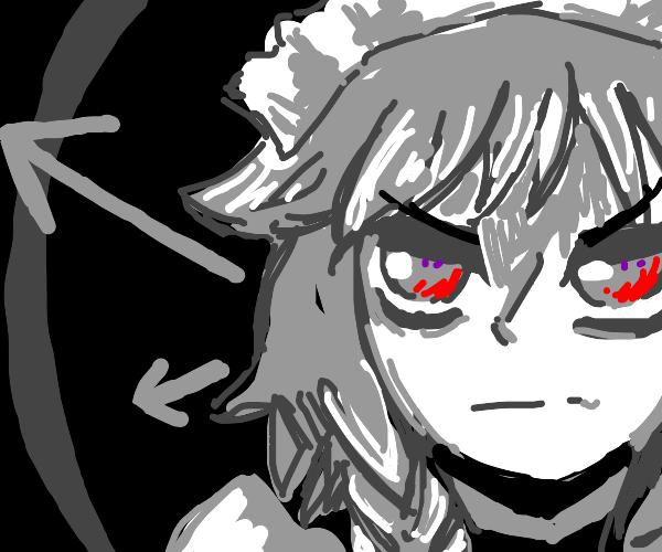 evil anime vampire maid with grey hair/eyes