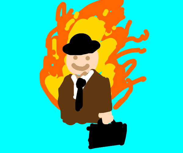 Business man is fine with being on fire