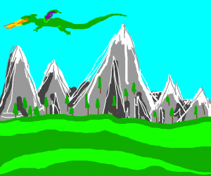 dragon above mountain landscape