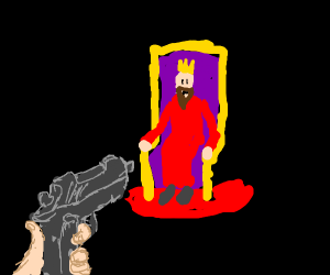 A guy aborting the king :( I think!