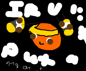 Orange with rings and a bee flying around it