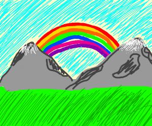 Rainbow near mountains