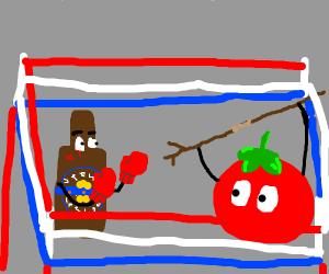 bottle fighting tomato