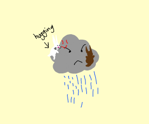 A bunny hugs an angry cloud.