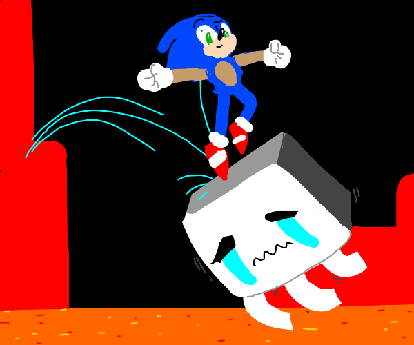 sonic in the nether encounters a ghast.