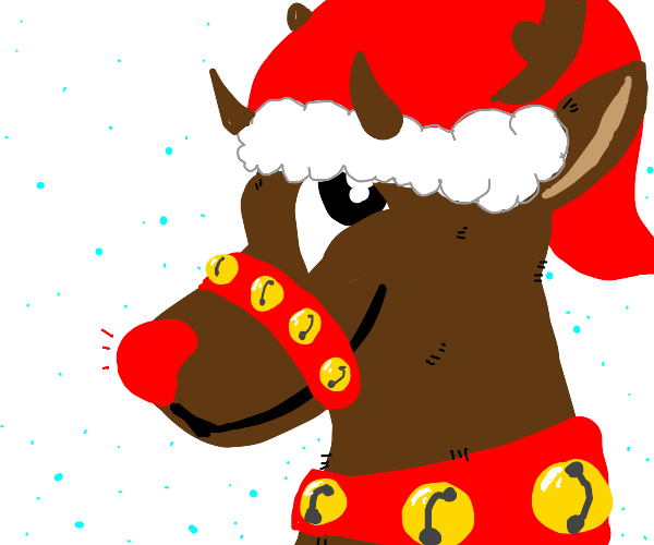 rudolph with a santa hat