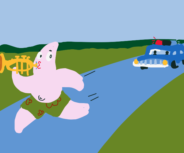Police chase patrick who has a trumpet