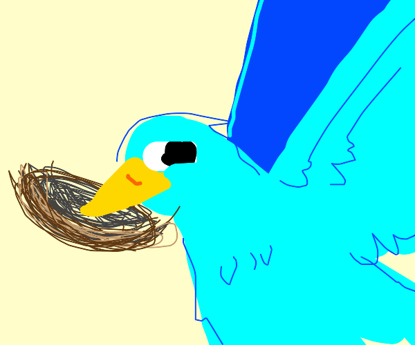 Blue bird flying with its nest