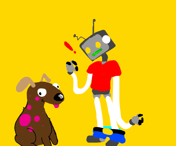 Robot in clothes finds polka dotted dog