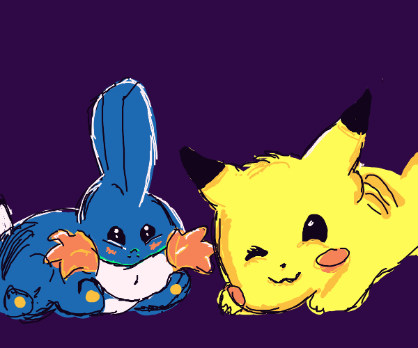 extremely cute mudkip and pikachu