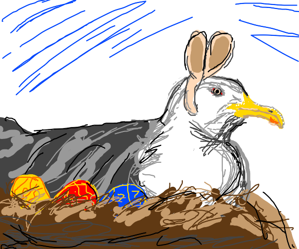 easter buny? nah. chicken? Nope. Easter eagle