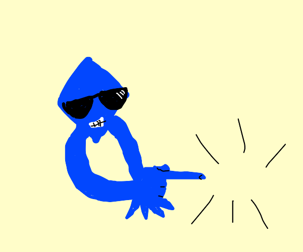 Cool blue dude pointing at literally nothing