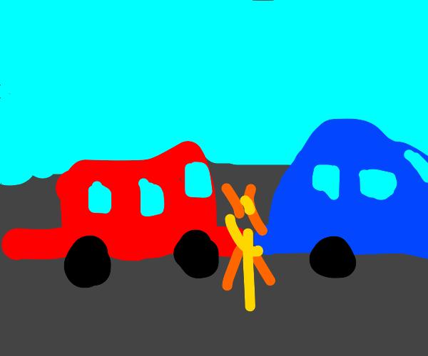 Car crash into back of other car :(