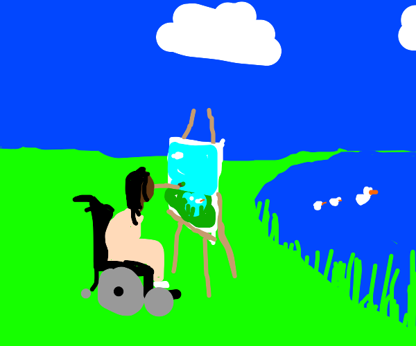 Woman painting with no hands