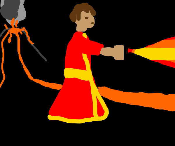 Firebender using lava