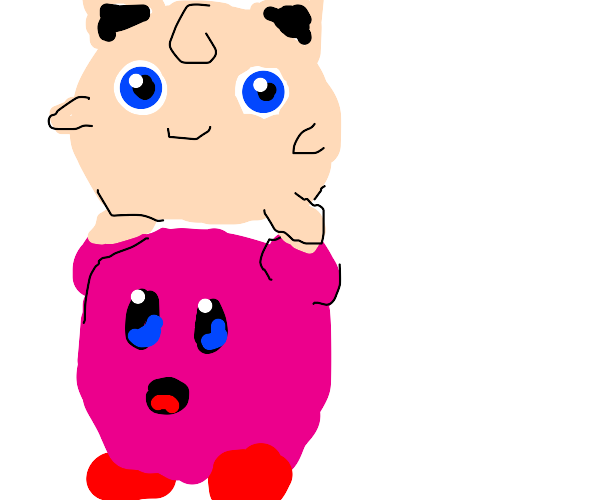 jigglypuff stands on top of realistic kirby