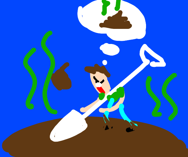 Man diggin in a pond of crap, looks for poops
