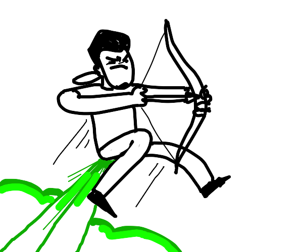 a man aiming a arrow while farting toxic