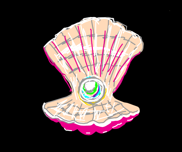 Clam with a rainbow pearl