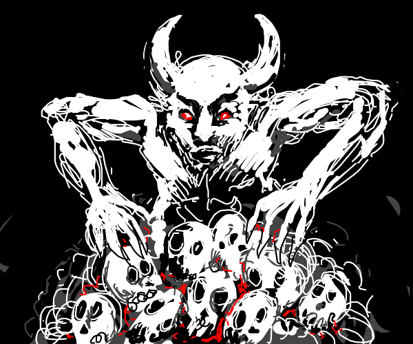 Demon crouched over pile of skulls