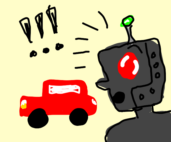 robot is alarmed by a red car