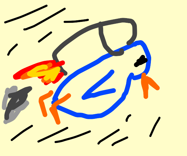 penguin with jetpack