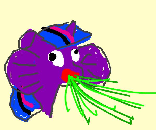 purple pony shooting acid dilophosaurus-style