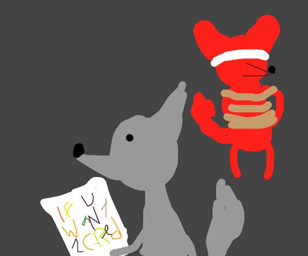 Grey fox kidnaps red fox