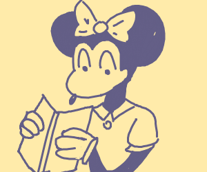 Minnie Mouse Reading a Book