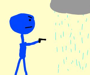Blue man is shooting at rain