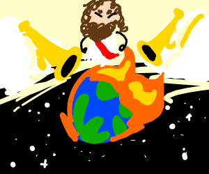 jesus watches the world burn while trumpets