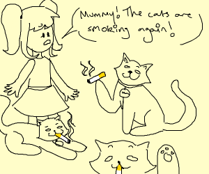Cats smoking