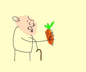 old man catches carrot