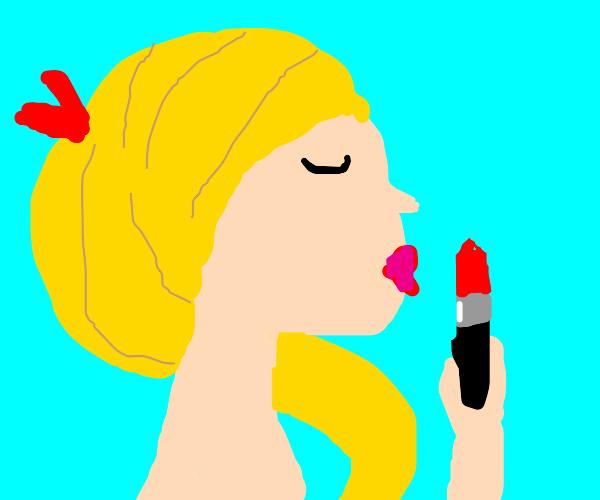 Really skinny girl puts on lipstick.