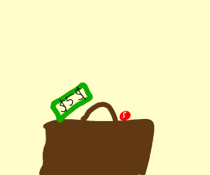 A 5 dollar bill and a red skittle on brown bg