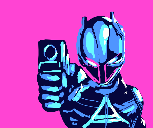 Cybertronic cat is pointing a gun