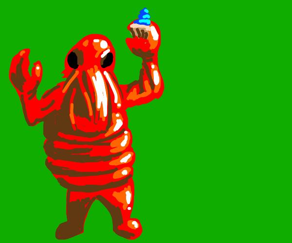 Lobster grabs a cupcake