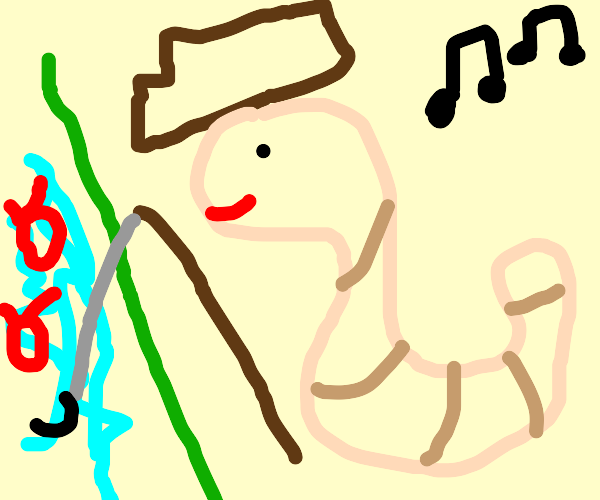 a farmer worm singing a song while fishing