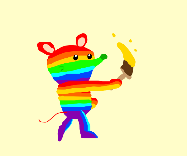 Rainbow mouse painting the house