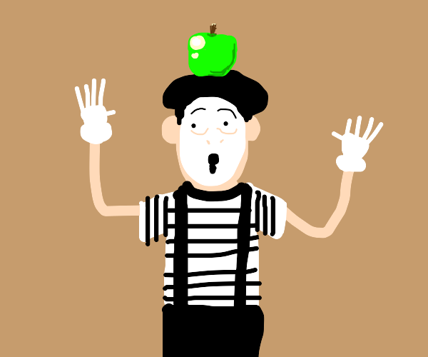 A mime with an apple on his head.