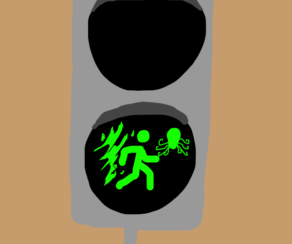Green man exits flames to consult the octopus
