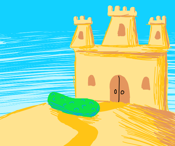 sandcastle and a pickle