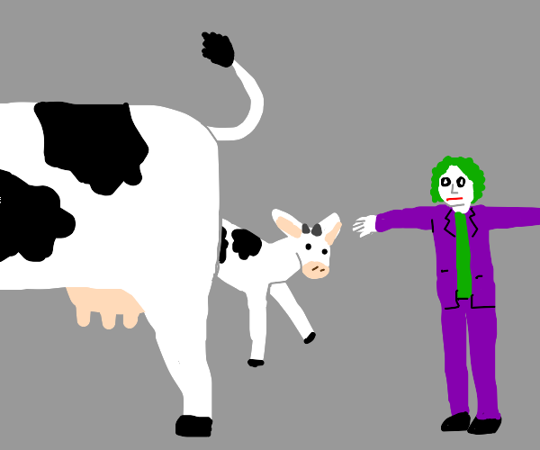 cow gives birth while joker t-poses